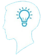bright blue background with white head and idea lightbulb icon
