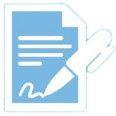 light blue background with white paper and pen icon