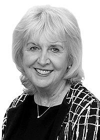 Black and white picture of Geraldine OBrien, SVP Communications